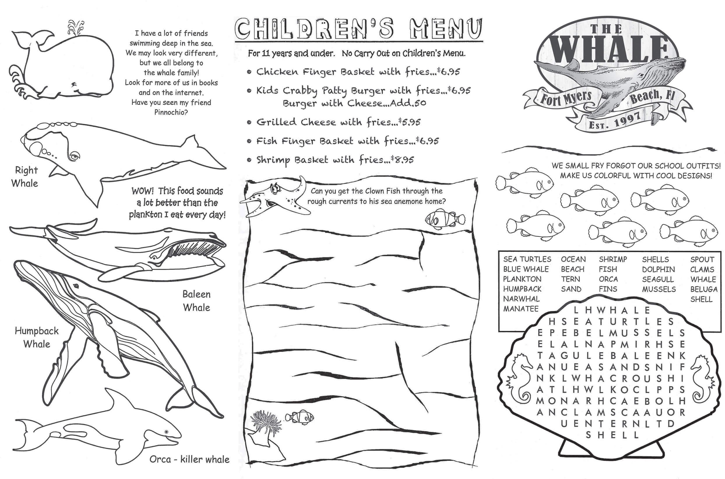 The Whale Kids Menu